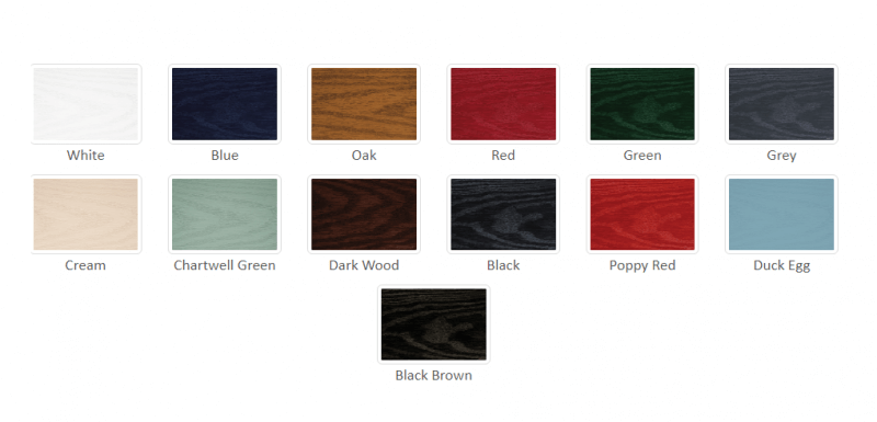 Over 13 different colours can be used on the front and back with hundreds of combinations available 1st homes are the clear choice when changing your doors